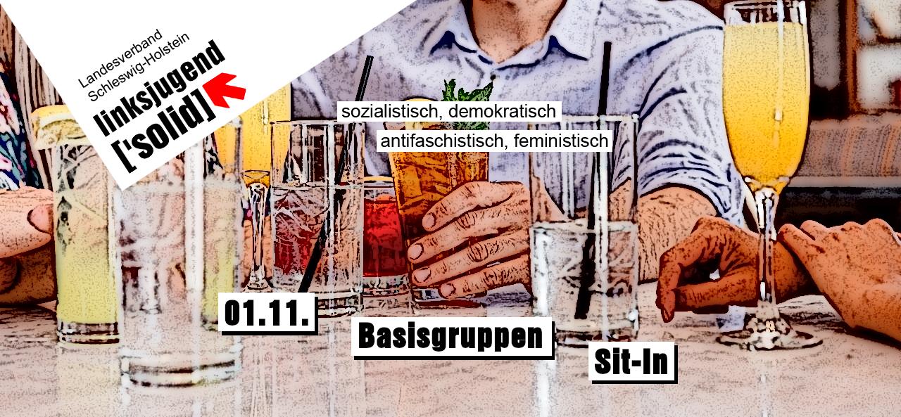 sharepic für das Basisgruppen Sit-In am 01.11. das Bild zeigt eine Gruppe Menschen an einem Tisch mit Getränken