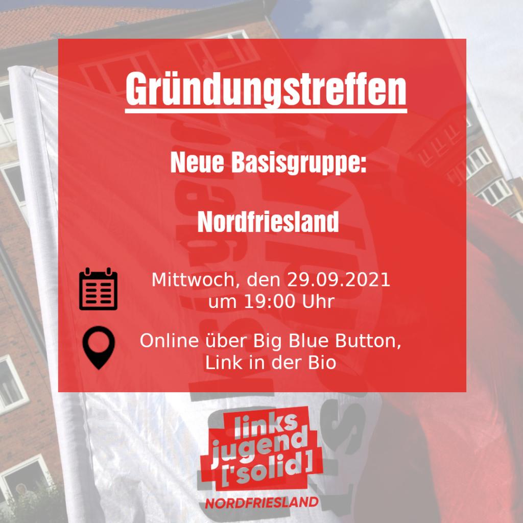 Fahne im Hintergrund, Im Vordergrund eine Textbox mit der Ankündigung eines Gründungstreffen in Norderstedt am 29.09. um 19 Uhr